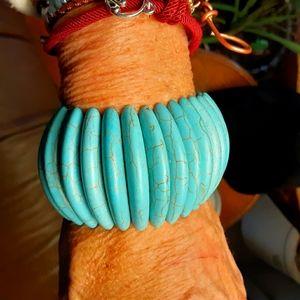 H&M NWT faux turquoise Boho stretch bracelet